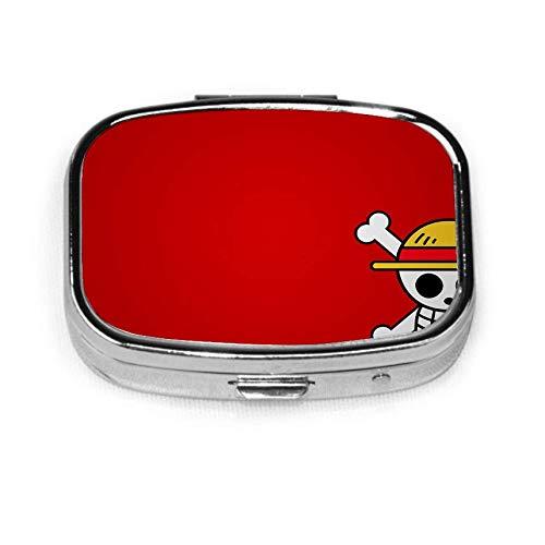 O-nePiec-e Ace Pill Box Estuche con 2 componentes Organizador de píldoras de vitamina portátil de metal para bolsillo, bolso, necesidades diarias