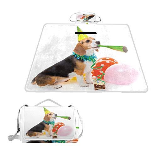 XINGAKA Couverture de Pique-Nique,Impression de Ballons de Chien d'anniversaire colorés,extérieure avec poignée Portable Tapis de Picnic pour Camping