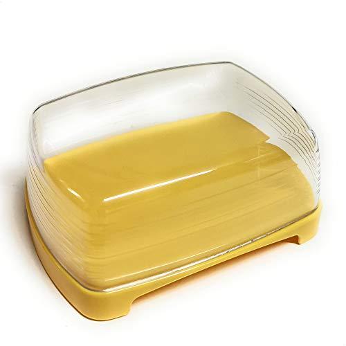 Kerafactum Butterdose Kunststoff gelb Butter Käse Dose mit durchsichtigem Deckel BPA Free Aufbewahrung | Kühlschrank Kunstoff Butter Box Butterdose Plastik drehbare Servierplatte Käsedose Käsebox