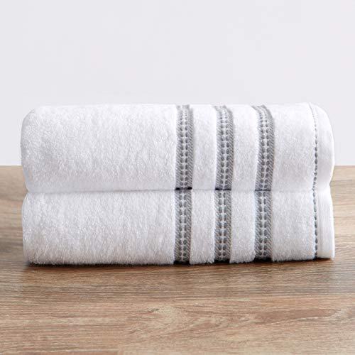 100% Cotton Plush Bath Towel Set (30 x 52 inches) Absorbent Floral Jacquard Luxury Towels. Roselyn Collection (Set of 2, White / Grey)