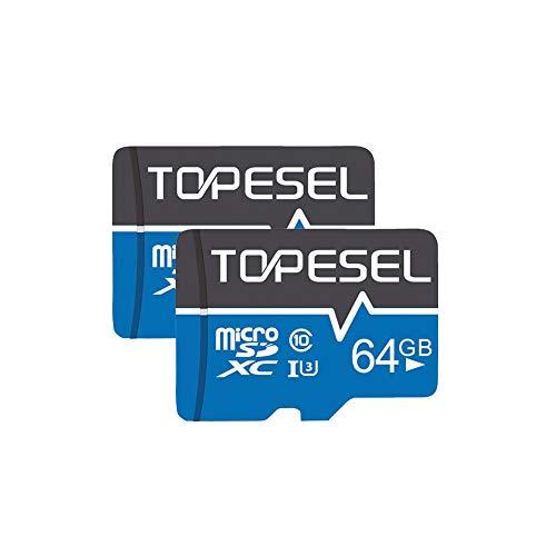 TOPESEL Micro SD Karte 64GB SD-Karte MicroSD Speicherkarte SDXC High Speed bis zu 85 MB/s Micro SD Memory Card C10, U3, Mini TF Karte für Handy Samsung Huawei, 2 Stück Blau