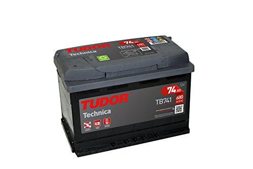 Batería para coche Tudor Exide Technica 74Ah, 12V. Dimensiones: 278 x 175 x 190. Borne izquierda.