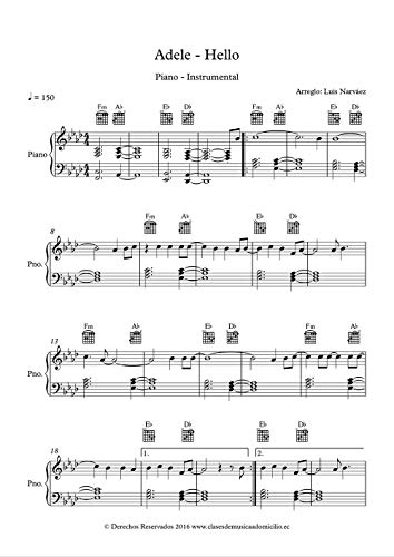 Adele - Hello - Sheet Music for Piano: Instrumental Version (Sheet Music for Piano 1 Book 13) (English Edition)