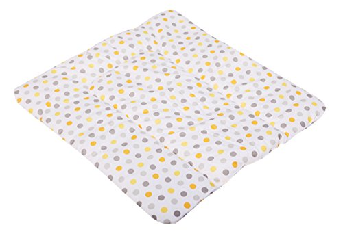 KempKids. Wickelauflage aus hochwertiger Baumwolle Wickelunterlage Wickeltischauflage Größe: 60x70 cm Gelb Graue Punkte