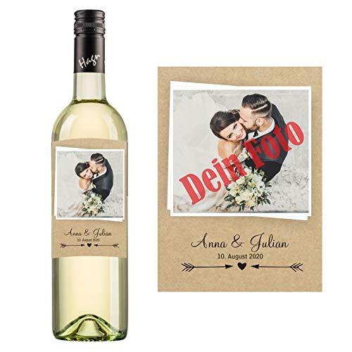 Personalisierter Wein zum Geburtstag, Valentinstag, Hochzeit, Muttertag, Jahrestag   Gestalte dein persönliches Geschenk   (Grüner Veltliner, Naturoptik)