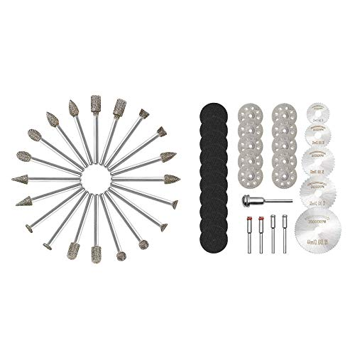 GOXAWEE 60 Grit 20Pcs Diamond Burr Set& Cutting Wheel Set for Rotary Tool Bundle
