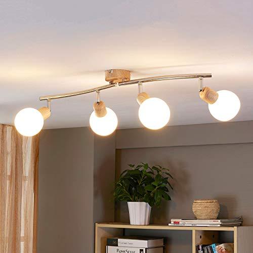 Lindby LED Deckenlampe 'Svenka' (Landhaus, Vintage, Rustikal) aus Glas u.a. für Wohnzimmer & Esszimmer (4 flammig, E14, A+, inkl. Leuchtmittel) - Deckenleuchte, Wandleuchte, Strahler, Spot, Lampe