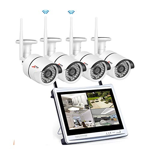 Wireless Security Camera System 960p, ANRAN 4CH 12' WiFi LCD NVR w/ 4 x 2.0 Megapixels Home Surveillance Video Camera System Outdoor IP Network Camera, Night Vision, Free App, No Hard Drive