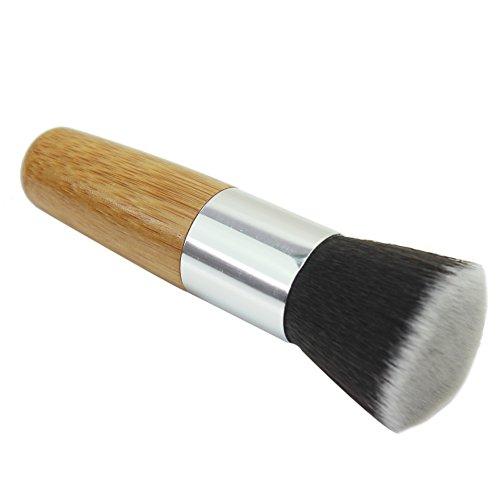 Merssavo Fondation Flat Top visage pinceaux de maquillage cosmétiques de tampon avec poignée en bambou