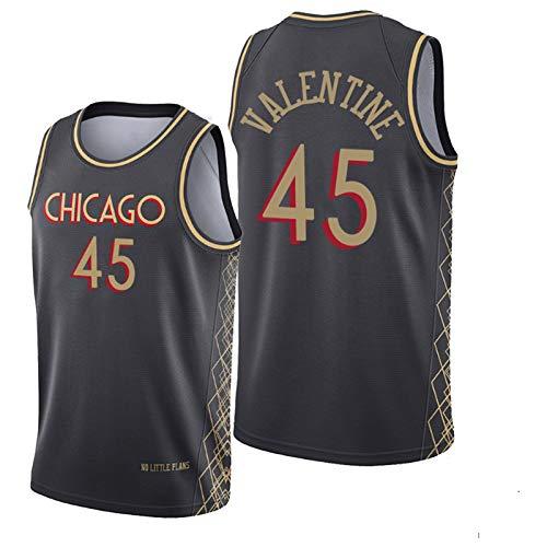 YPKL Denzel Valentine - Camiseta de baloncesto para hombre, 2021 New Season Bulls 45 # Negro Swingman, transpirable y cómoda sudadera (S-XXL) L