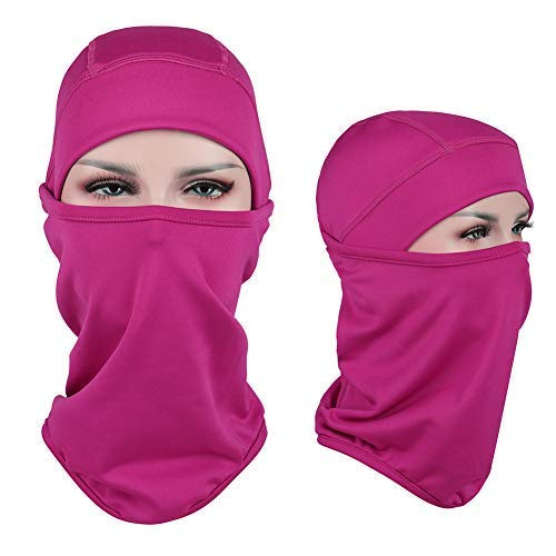 Aegend Balaclava Face Warmer Windproof Fleece for Winter Skiing Cold Weather for Men & Women - Rose Red
