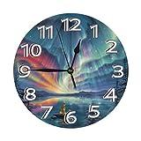 Mailine Reloj de Pared de océano Estrellado de Sirena Relojes Decorativos Impermeables Reloj Ligero con manecillas de números Romanos Reloj de Pared Redondo Duradero