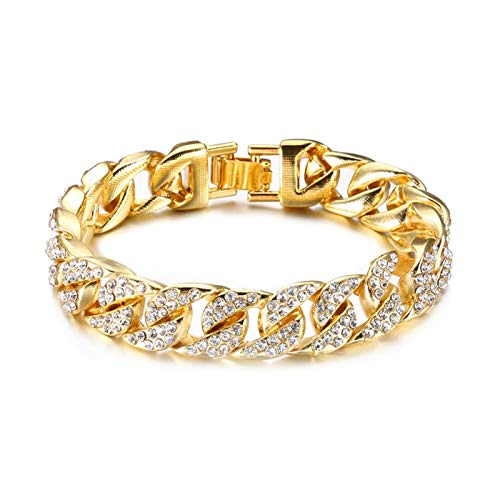 Personalised Hip Hop 1Set Full Rhinestone Bling Iced Out Men's Bracelet Pave Gold Miami Cuban Link Chain Bracelets for Men Jewelry Dropship for Men (Length : 22cm, Metal Color : 1set(2pcs))