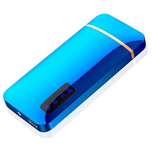 プラズマ ライター 電子 電気 usb ライター 小型 充電式 防風 軽量 (ブルー)