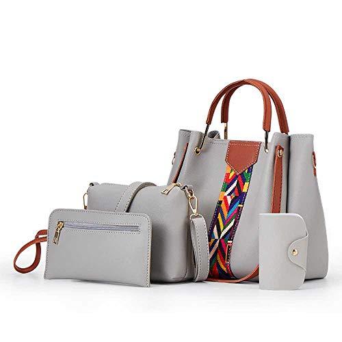 Damen Handtasche One-Shoulder-Bag schräge Tasche Mode PU Leder Damen Tasche Casual Damen Handtasche Geldbörse Set 4 Stück