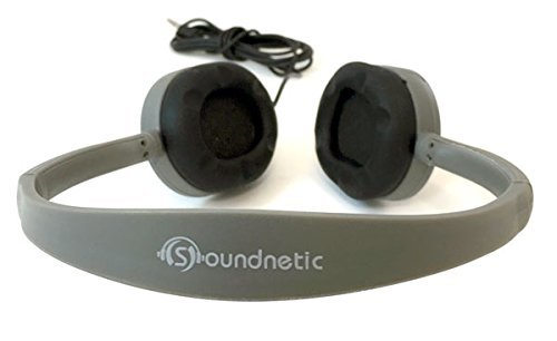 Soundnetic SN65 25 Pack Flat Cool Gray Stereo Classroom Budget Headphones with Rubber Earpads