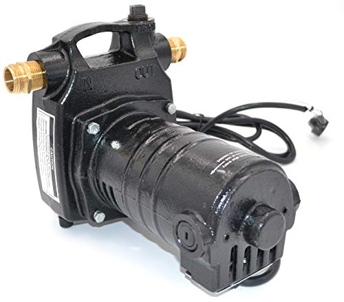 Portable Cast Iron Electric Utility Transfer Water Pump | Includes Strainer and Brass Connectors | Remove Water from Basement, Pond, Pool, Water Heater or any Flooded Area