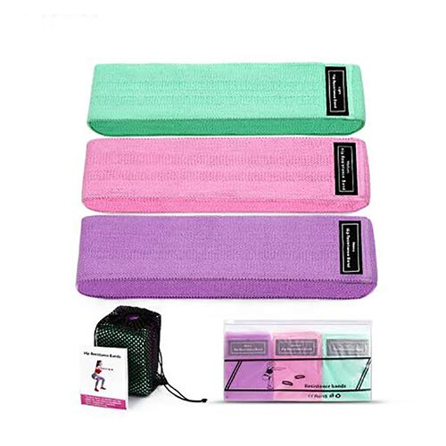 ADY Fabric Hip Bands 3 Pack Set. Wide, Non-Slip, Stretch, Resistance Bands for Legs and Butt. Perfect Glute, Core, Booty Bands. Workout Exercises and Carry Bag Included