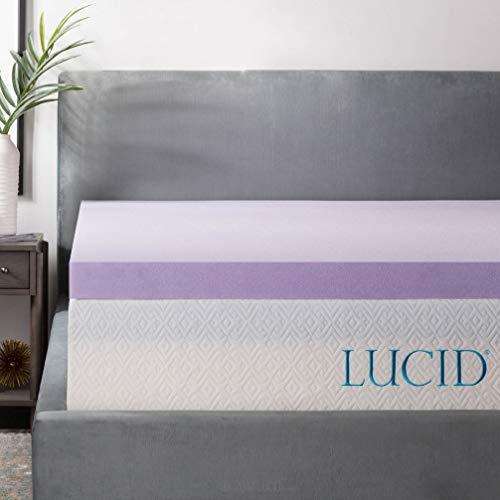 LUCID 3 Inch Lavender Infused Memory Foam Mattress Topper - Ventilated Design - Full Size