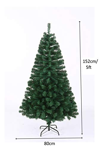 Evre-Artificial-Christmas-Tree-With-Pine-Cones-Berries-5ft-6ft-7ft-with-PVC-Tips-Easy-Build-Hinged-Branches-Strong-Metal-Stand