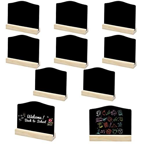 10 Stk Mini Tafeln, Kleine Kreidetafel mit Ständer, Löschbar Memotafel Tischschilder mit Holz Sockel, Tischkreidetafel Karten für Buffet, Hochzeit, Party, Preisschilder, 7,6x10cm