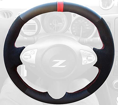 RedlineGoods Cubierta del Volante Compatible con Nissan 370Z 2009-20 Cuero Gris Costura Negra