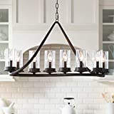 Heritage Bronze Large Linear Island Pendant Chandelier Lighting 44' Wide Modern Rustic Clear Glass Cylinder Shades 10-Light Fixture for Kitchen Dining Room House High Ceilings - Franklin Iron Works