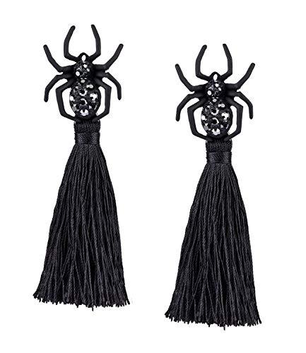 SIX Pendientes de mujer con borlas y diamantes de imitación, para carnaval, Halloween, disfraces, color negro (778-119)