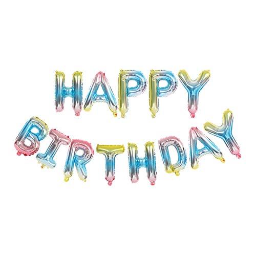 Luftballons, Happy Birthday Ballons, Banner, 40,6 cm, bunte Mylar-Folie, Buchstabenballons Ba-R