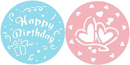 Zenker Kuchen-Deko-Schablonen CANDY, Dekorier-Scheiben mit Herzen und Happy Birthday, Schablone zur Verzierung von Kuchen und Torten (Farbe: Rosa, Blau), Menge: 2 Stück
