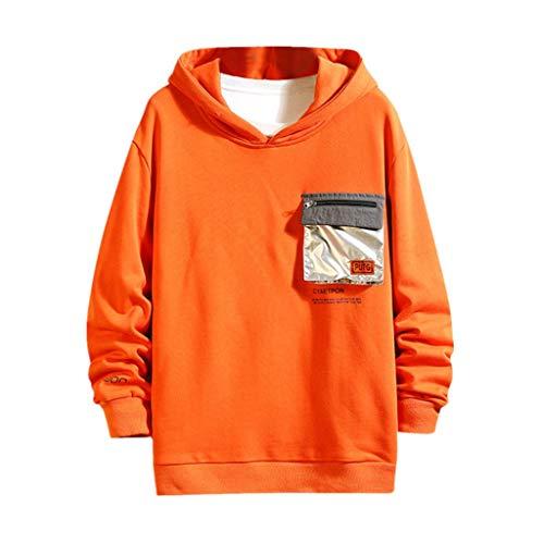 Herren Pullover Hip Hop Hoodie Langarm Sweatshirt Kapuzenpullover Sweatjacke Sportswear H, M Orange (Hoodies Männer Hoodie Langarm Hoodie Mann, lässig Sweatshirt Mann Langarmshirt für Herren)