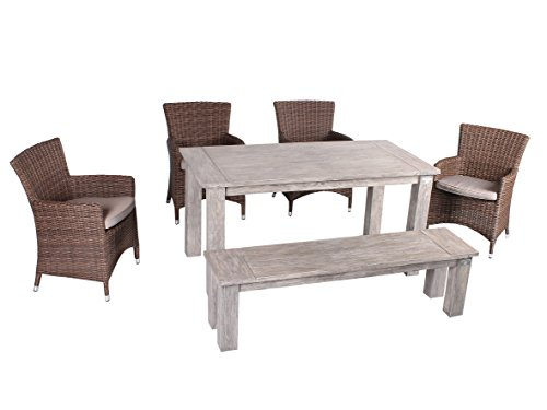 Strandgut07 6tlg. Essgruppe Sitzgruppe 160 x 80 cm Teakholz grau finish hochwertiges Polyrattan Sessel Sitzgruppe Teaktisch Gartenmöbel braun