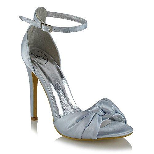 ESSEX GLAM Damen Fesselriemen High Heel Peep Toe Silber Satin Braut Sandalen EU 39