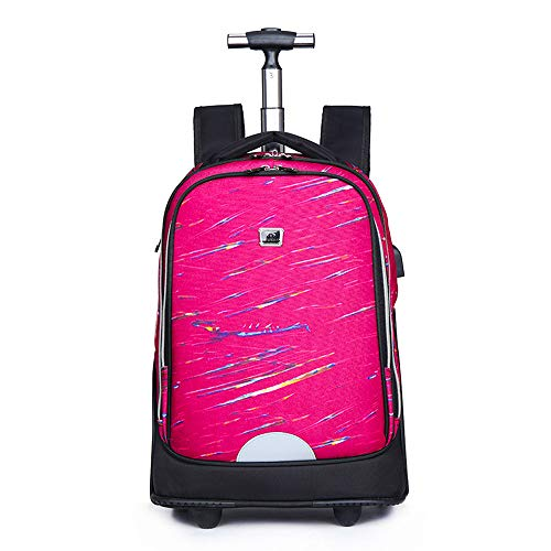 FREETT Unisex Trolley Backpack, High Capacity Trolley Suitcase, Luggage Case Bag for Child Student and School, Waterproof,5