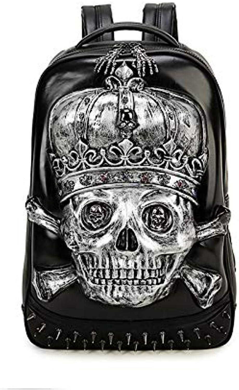 CBDGD CBDGD CBDGD Pu Backpack 3D Skull Men's Waterproof Laptop Bag