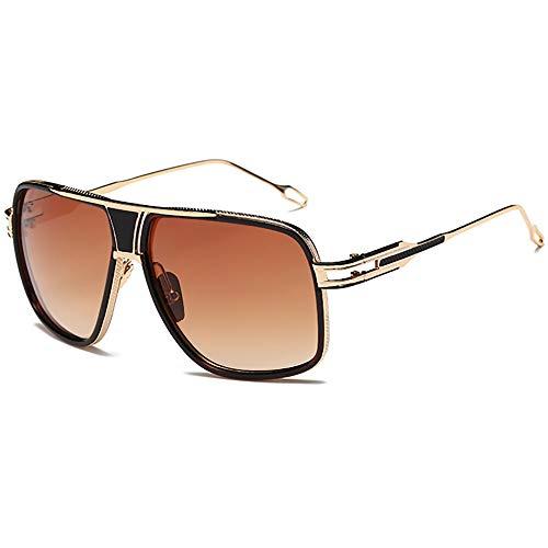 SHEEN KELLY Oversized Super Große Sonnenbrille Damen Großen Brille Square Piloten Retro Metall Rahmen für Herren Sonnenbrille Gold/Silber