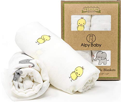 Alpy Baby Bamboo Muslin Swaddle Blankets - Soft Breathable Newborn Swaddling Wrap - 47 x 47 Inch Nursery Receiving Blanket, Stroller Canopy, Breastfeeding Cover, Burp Cloth - Set of 2, Duck Elephant