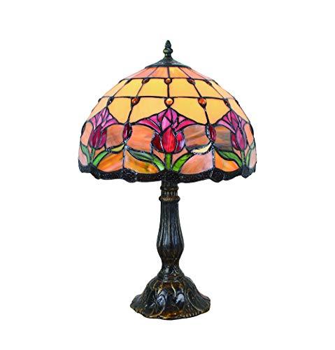 Tokira Vintage Tiffany Tischlampen Blume 50 Hoch, Tiffany Tischlampe Antik Original, Glasmalerei Lampen Rote Tulpe Schlafzimmer Nacht Lampenschirme Wohnzimmer
