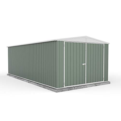 WALTONS EST. 1878 Absco 9ft 10in x 19ft 8in Metal Utility Workshop Apex Garden Storage Shed - Pale Eucalyptus from Waltons