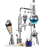 HTDHS Accesorios de Vida Aceites Esenciales Aparatos de extracción 500 ml Equipo de laboratorio Destilación Unidad Set Lab Lab GlassWare Kit de agua Distillero Purificador Equipo de experimento químic