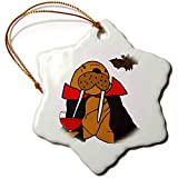 3dRose Snowflake Ornament - Cute Funny Walrus Vampire Drinking Goblet of Blood - 3-inches (ORN_260834_1)