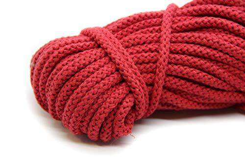 NTS Nähtechnik 100m Baumwollkordel / 4mm breites Seil aus Baumwolle mit Polyester Kern/Deko Schnur (rot, 4)