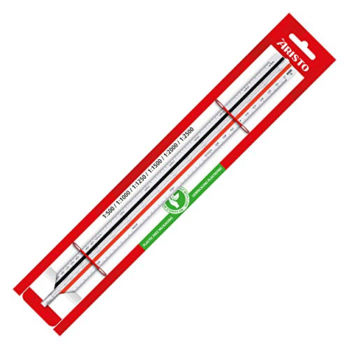 Aristo Dreikant Maßstab (Reduktion 1:500 :1000 :1250 :1500 :2000 :2500, Kunststoff, 30 cm lang) für Vermessung - C, Weiß