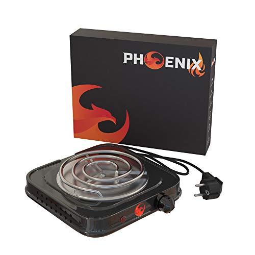 Phoenix - Hornillo Cachimba Electrico Shisha para Carbones Barbacoa - Cocina Electrica Portatil para Camping o Encendedor Carbones Hookah (Negro)