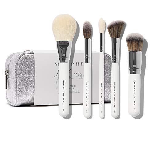 Morphe x Jaclyn Hill Makeup Brush Set - The Complexion Master Collection - Includes Bronzer, Foundation, Blush, Undereye Powder and Highlighter Brushes Plus Travel Bag - Natural and Synthetic Brushes