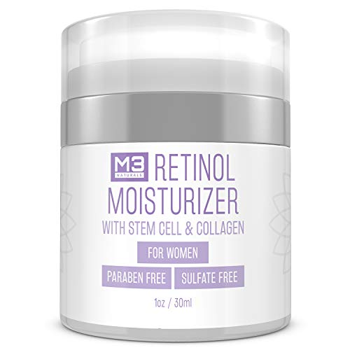 M3 Naturals Retinol Cream for Face - Collagen and Stem Cell Infused - Anti Aging Face Moisturizer for Dark Circles, Under Eye, Puffiness, Neck Firming, Fine Line & Wrinkle Treatment 1 oz