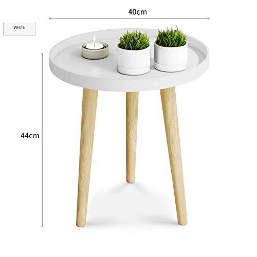 BinLZ-Table Kleiner Runder Tisch Couchtisch Nachttisch Ecktisch Sofa Beistelltisch Palettentisch Esstisch Optionale Farbe, Größe, Weiß, 40 * 44 cm