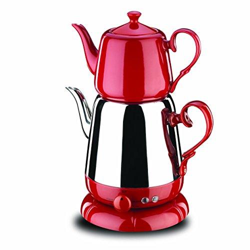 Korkmaz Nosta Electrical Tea Pot -Red/Elektrikli Cay Takimi/A339-01 Teekocher, Edelstahl, rot, 11 x 11 x 9 cm