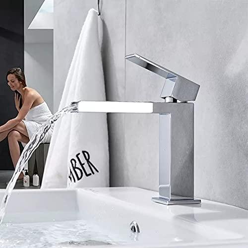 Estilo de cascada grifo de lavabo de rociado largo de una sola manija latón cromado grifo de agua fría y caliente encimera lavabo de baño grifo de un orificio
