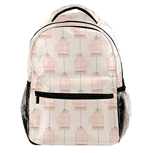 Pink Bird Cage Laptop Backpack for Men School Bookbag Travel Rucksack Daypack School Bag for Women Girls